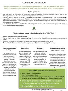 Conditions d`utilisation - Càmping de la Vall d`Àger