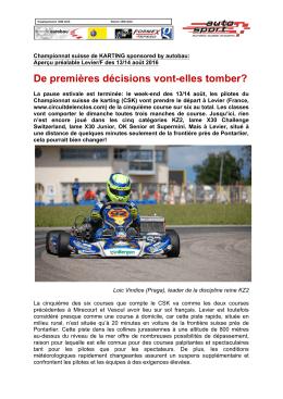 Championnat Suisse de Karting du 13/14 août