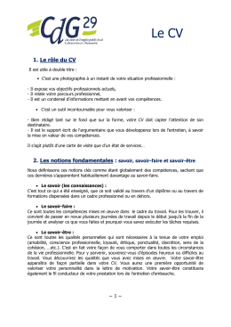 Le CV - Centre de Gestion du Finistère