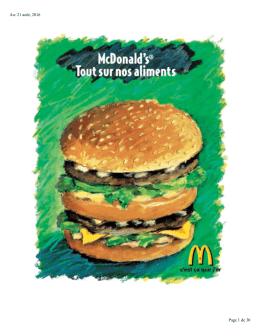 Ingrédients - McDonald`s