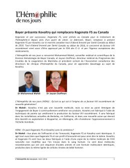 Bayer présente Kovaltry qui remplacera Kogenate FS au Canada