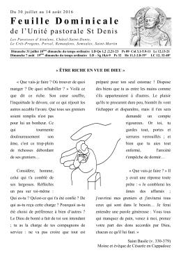 Feuille Dominicale - Unité Pastorale St Denis