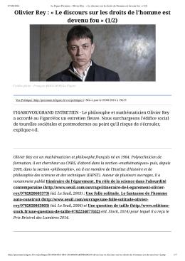 Olivier Rey : « Le discours sur les droits de l`homme est - ac