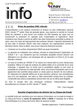 Bulletin Info n° 249 / Août 2016