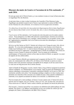 Discours du maire de Genève à l`occasion de la