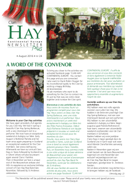 a word of the convenor - The Official website of the Clan Hay