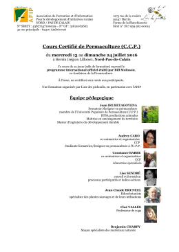 programme de formation ccp - Ferme pédagogique et expérimentale