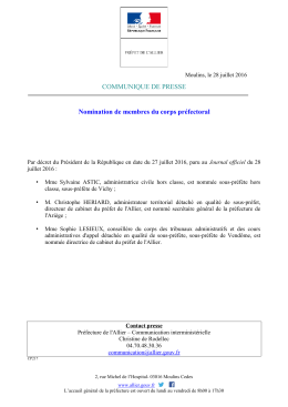 COMMUNIQUE DE PRESSE Nomination de membres du corps