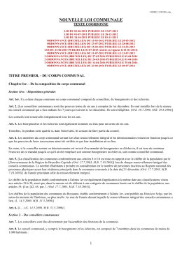 nouvelle loi communale - Portail pouvoirs locaux