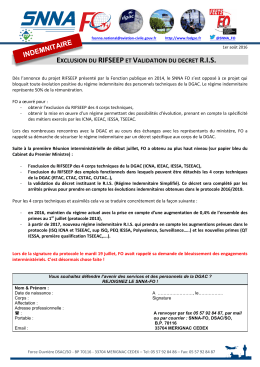 exclusion du rifseepet validation du decret ris - SNNA-FO