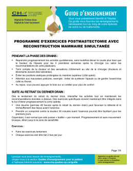 programme d`exercices postmastectomie avec reconstruction