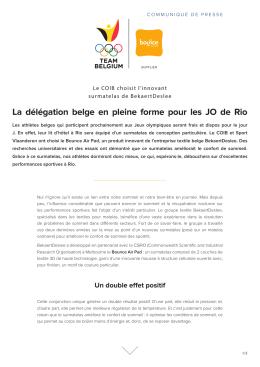 La délégation belge en pleine forme pour les JO de Rio
