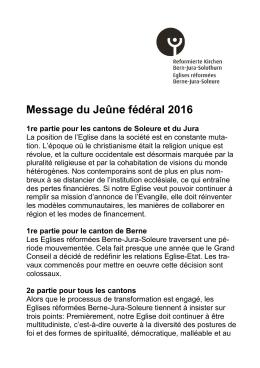 Message du Jeûne fédéral 2016