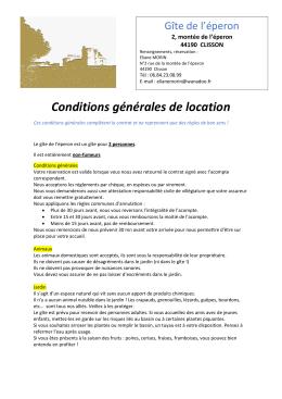 Conditions générales de location - Clisson Gite L Eperon Clisson