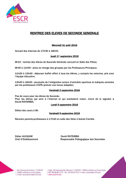 rentree des eleves de seconde generale