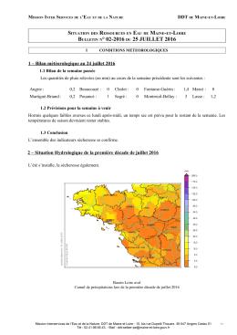 Bulletin hydrologique N°2 du 26 juillet 2016 - Services Etat Maine