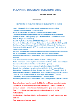 planning des manifestations 2016