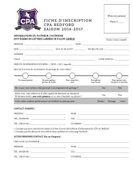 Fiche d`inscription CPA BEDFORD SAISON 2016-2017