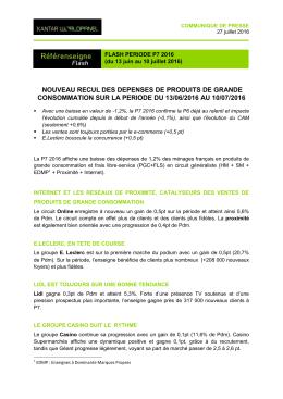 NOUVEAU RECUL DES DEPENSES DE PRODUITS DE GRANDE