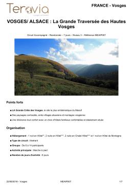 VOSGES/ ALSACE : La Grande Traversée des Hautes Vosges