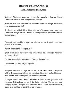 Discours inauguration place Pierre Desautels