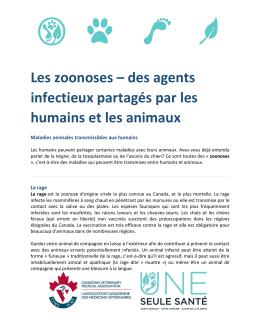 des agents infectieux partagés par les humains et les animaux