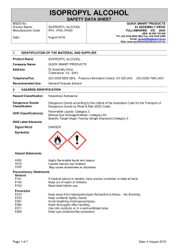 MSDS - Quick Smart Products