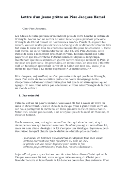 Lettre d`un jeune prêtre au Père Jacques Hamel