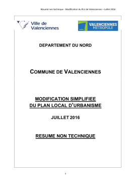 Modification simplifiée du plan local d`urbanisme de Valenciennes
