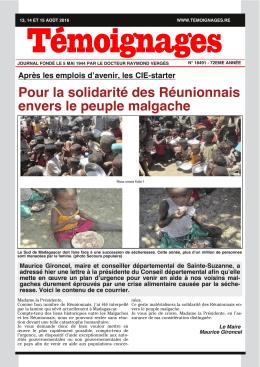 Pour la solidarité des Réunionnais envers le peuple