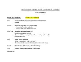 Programmation des Fêtes du 175e Anniversaire de Saint
