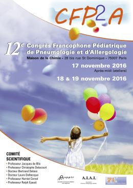 Programme CFP2A - 2016 - Société Pédiatrique de Pneumologie et