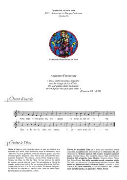 Chant d`entrée Gloire à Dieu - Cathédrale Notre Dame de Paris