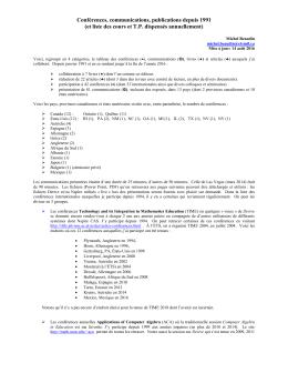 Conférences, communications et publications - Cours par sigle