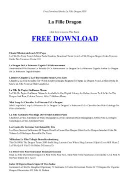 LA FILLE DRAGON | Free Books PDF