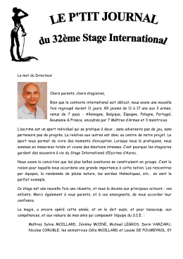 Petit journal Juillet 2016 - Stage International d`Escrime d`Aurec sur