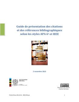 Guide de présentation des citations et des références