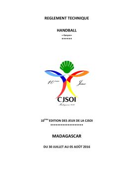 Voir Reglement HANDBALL - 10è JEUX de la CJSOI MADAGASCAR