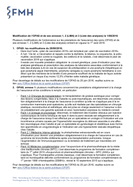 Modification de l`OPAS et de ses annexes le 1/08/2016
