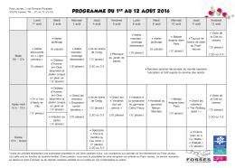 programme du 1er au 12 août 2016