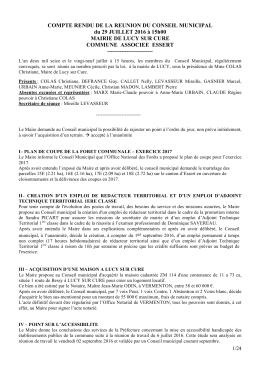 COMPTE RENDU DE LA REUNION DU CONSEIL - Lucy-sur-CURE