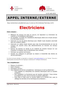 Electriciens - CHU Ambroise Paré