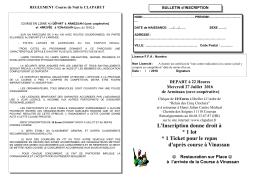 L`Inscription donne droit à * 1 lot * 1 Ticket pour le repas