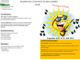 Programme Aout 2016