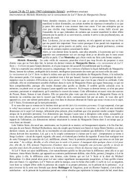 Michèle Montrelay sur le texte de Duras