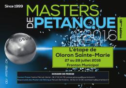 dossier de presse - Masters de Pétanque