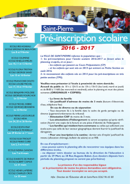 Pré-inscription scolaire - Site Officiel de la Ville de Saint Pierre