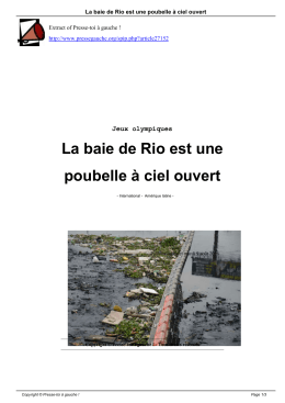 La baie de Rio est une poubelle à ciel ouvert - Presse