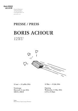 BOrIs ACHOUr - Galerie Allen