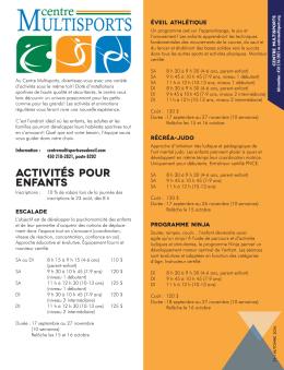 Activités offertes à l`automne 2016 - Vaudreuil